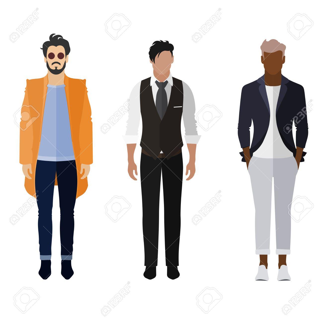 Drei Männer Flach Stil-Ikone Menschen Zahlen In Verschiedenen ...