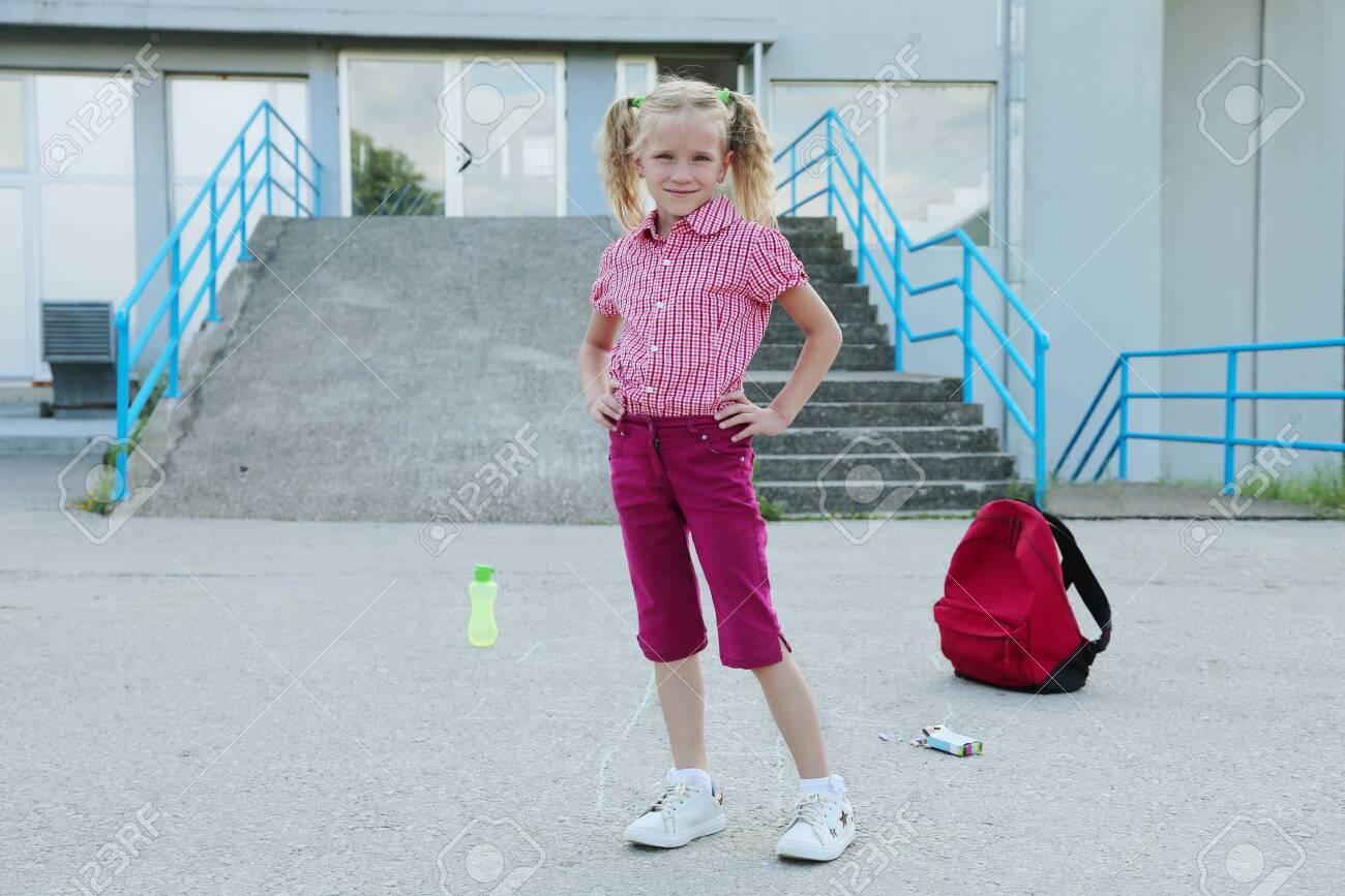 Asian School Girl Public