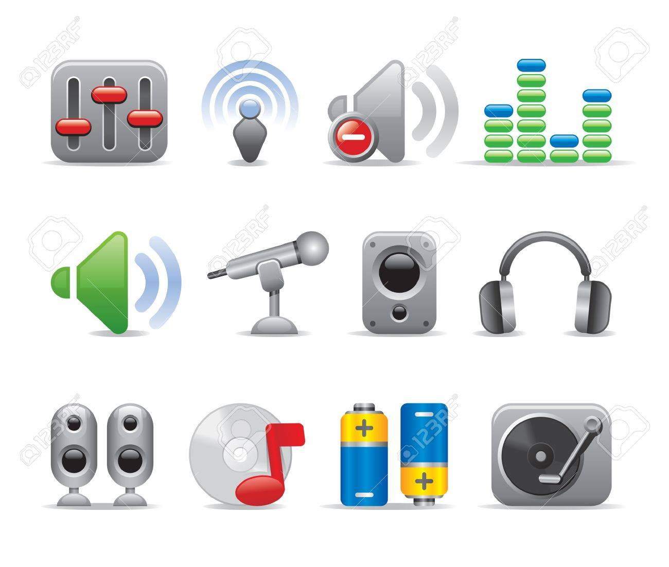music icons Stock Vector - 11206269