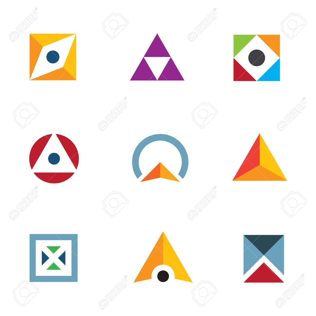 Magnifique Géométrique Cercle En Forme De Triangle Et Un Cube Combinaison &MU_57
