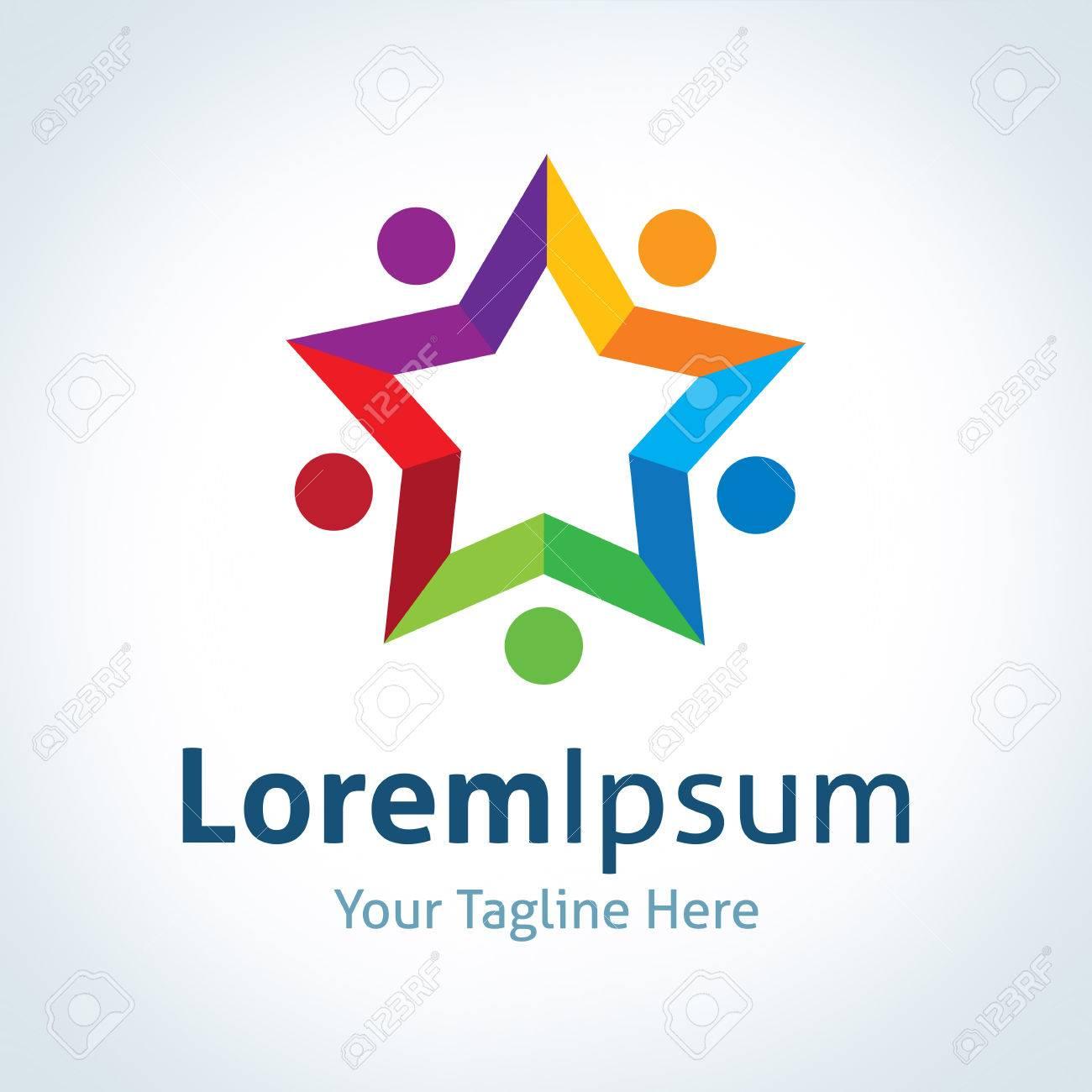 Asociación Forma De Estrella Logo Conexión Vectorial De Icono ...