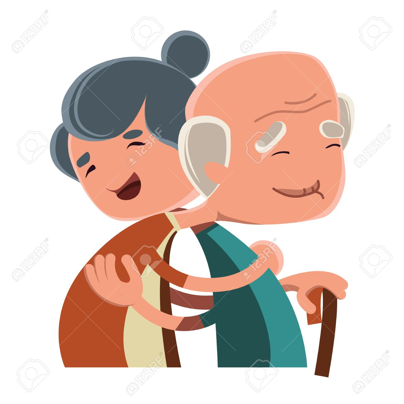Old Couple Hugging Vector Illustration Cartoon Character Royalty