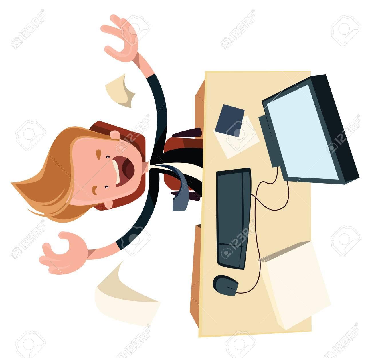 Business Enthysiasm At Work Desk Vector Illustration Cartoon