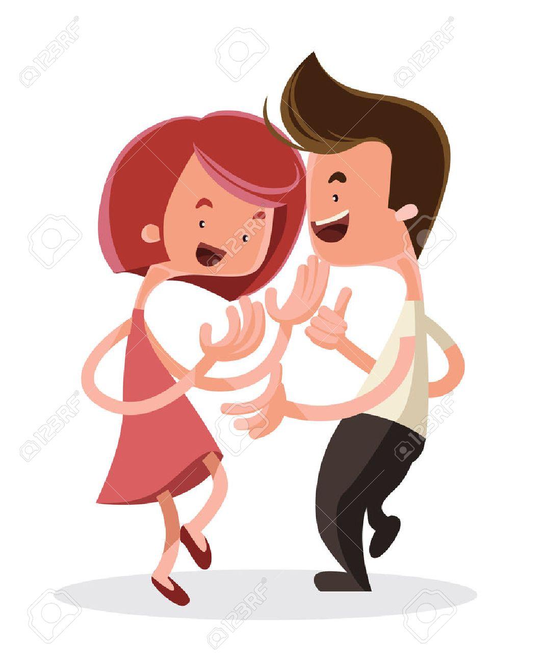 若いカップルのベクトル イラスト漫画のキャラクターをダンス