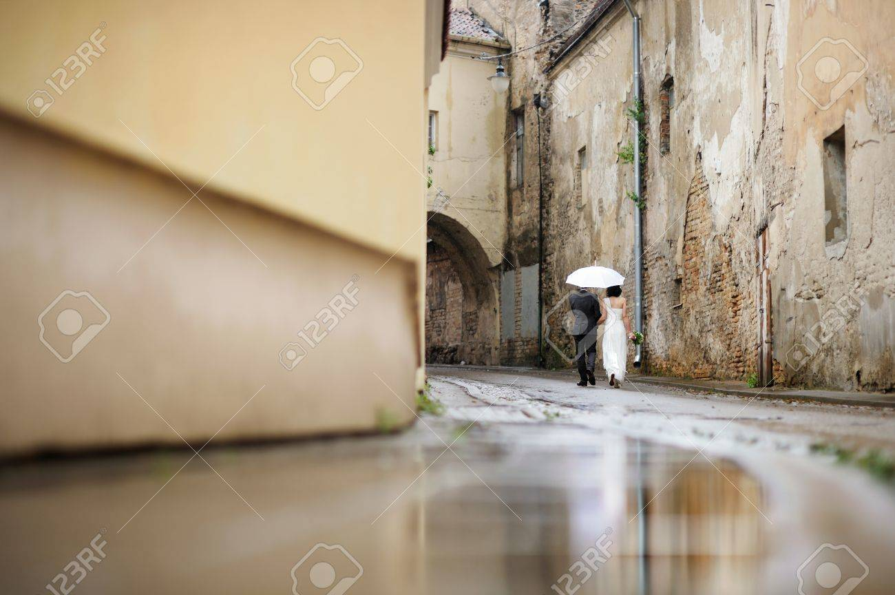 Bride and groom walking away under an umbrella Stock Photo - 12791705