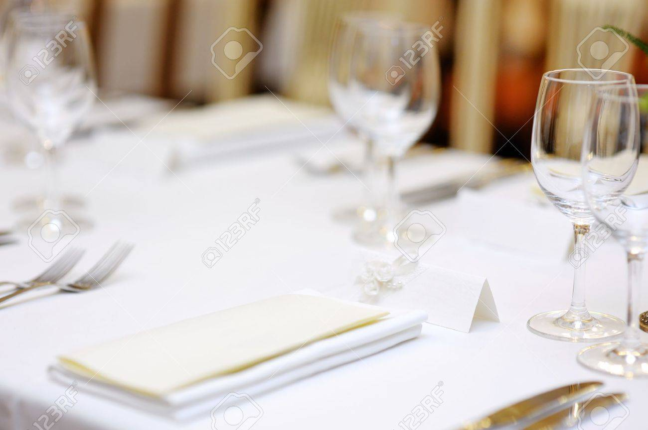 Fancy restaurant table setting - Empty Place Card On Table Set For A Party Stock Photo 12789338