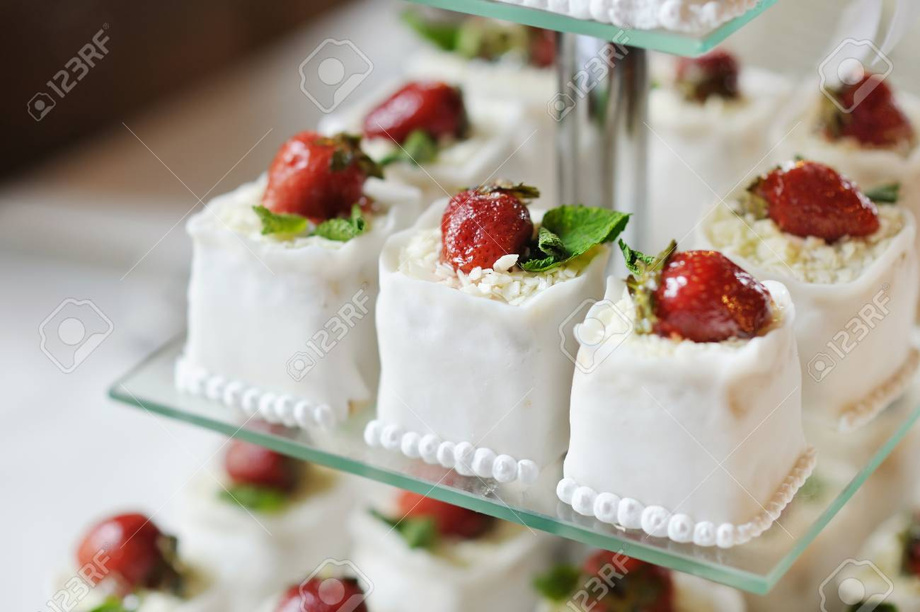 Delicious Fancy Wedding Cake Made Of Strawberry Cupcakes Stock Photo ...