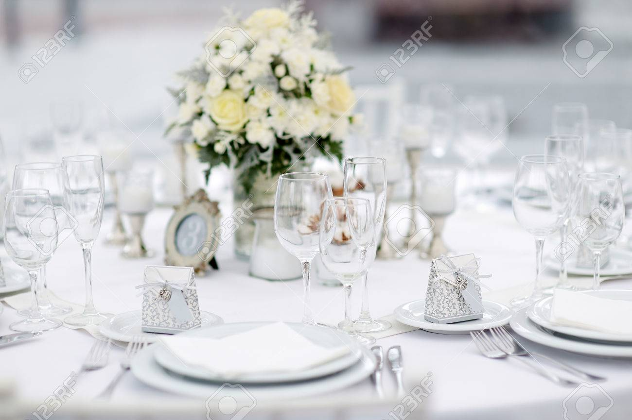 Table Set For An Event Party Or Wedding Reception, Winter Theme ...