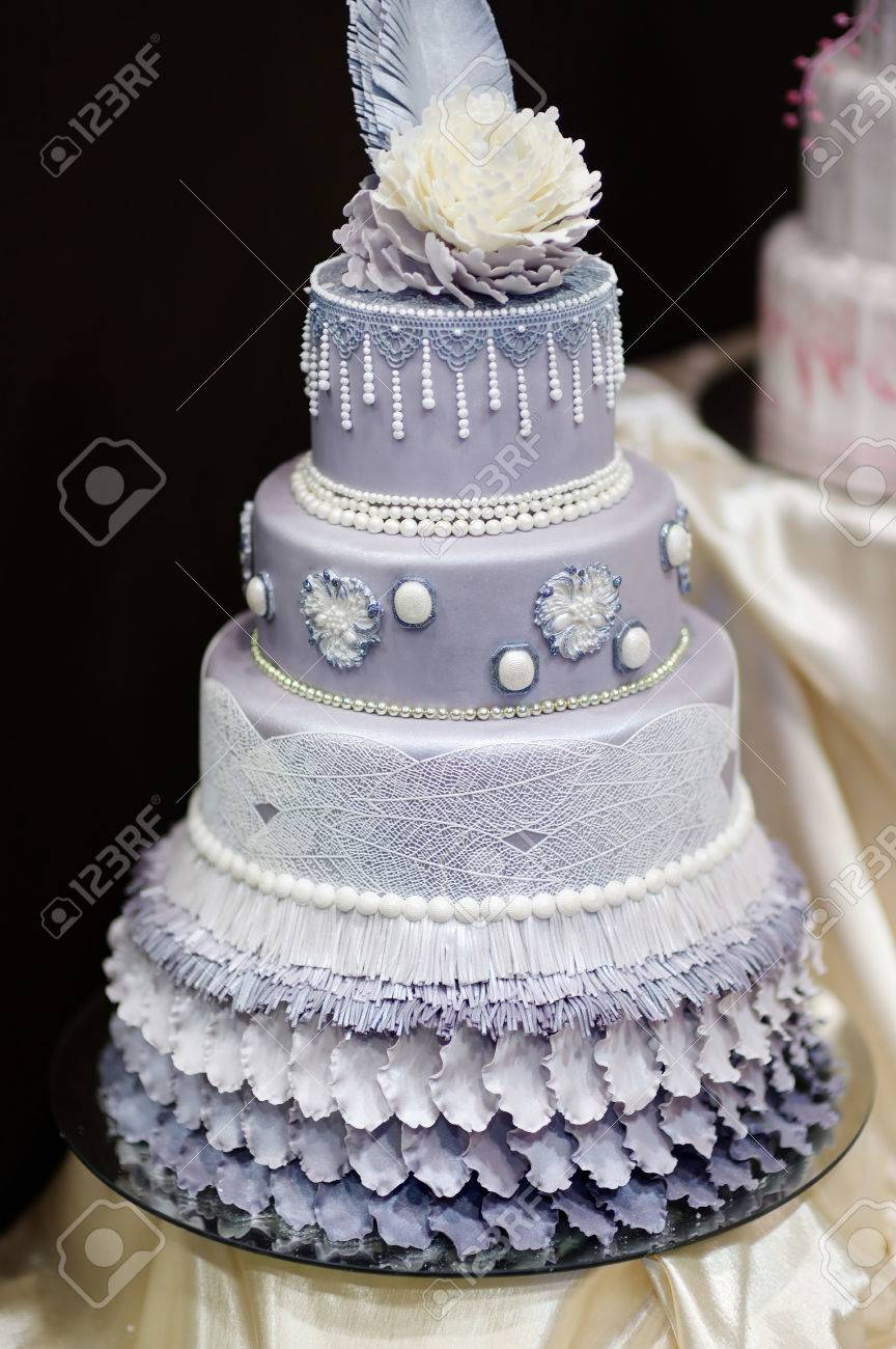 Blue wedding cake decorated with flowers and pearls stock photo blue wedding cake decorated with flowers and pearls stock photo 40754831 junglespirit Image collections