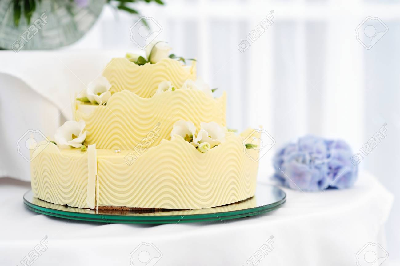 Fancy Yellow Wedding Cake Stock Photo, Picture And Royalty Free ...