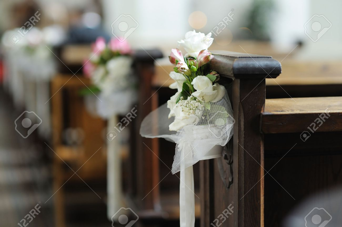 Beautiful Flower Wedding Decoration In A Church Stock Photo, Picture ...