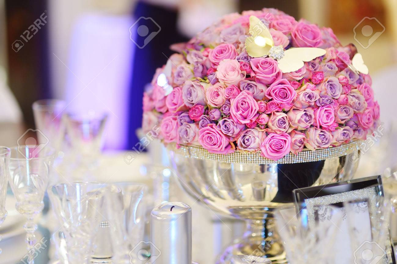 Beautiful Table Set For An Event Party Or Wedding Reception Stock ...