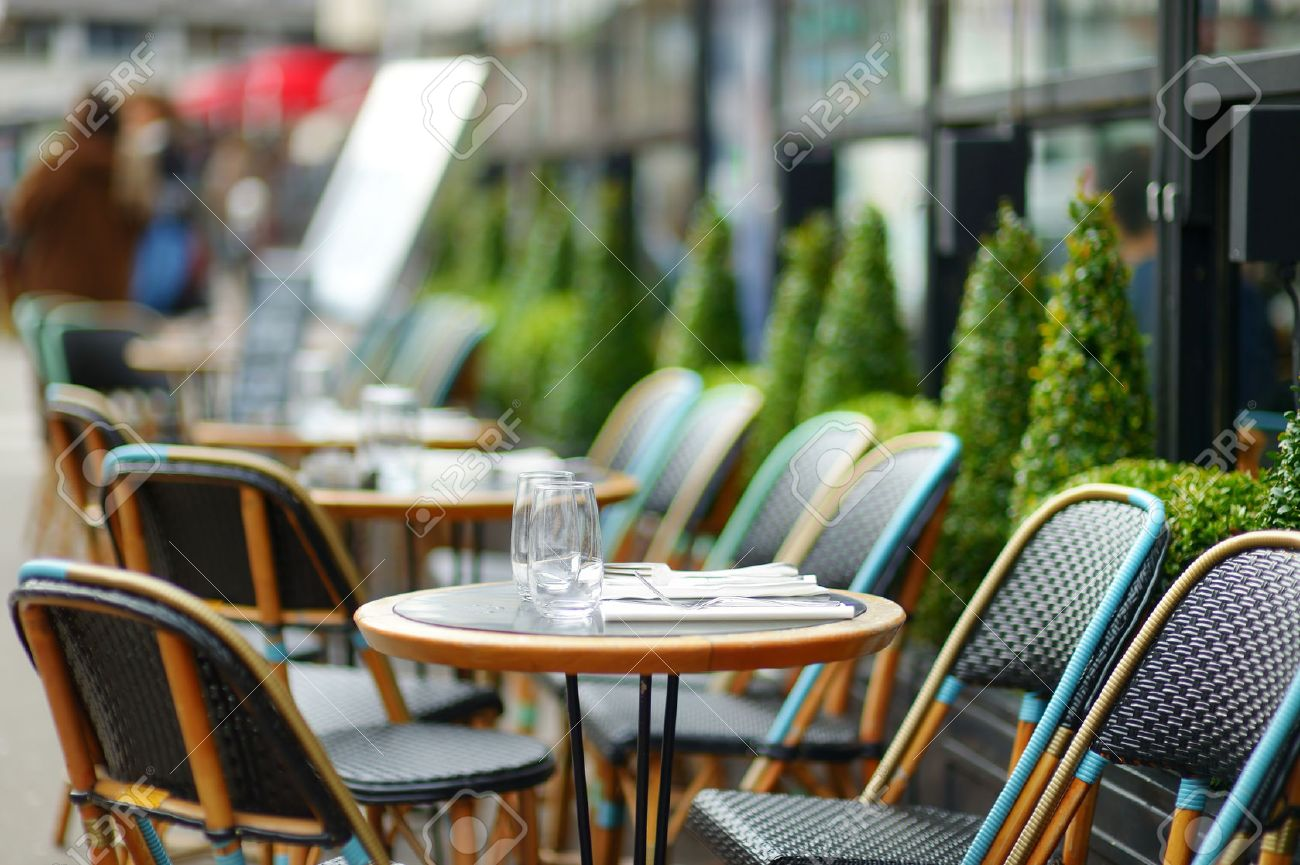 Outdoor cafe in paris with tower in background - French Cafe Cozy Outdoor Cafe In Paris France