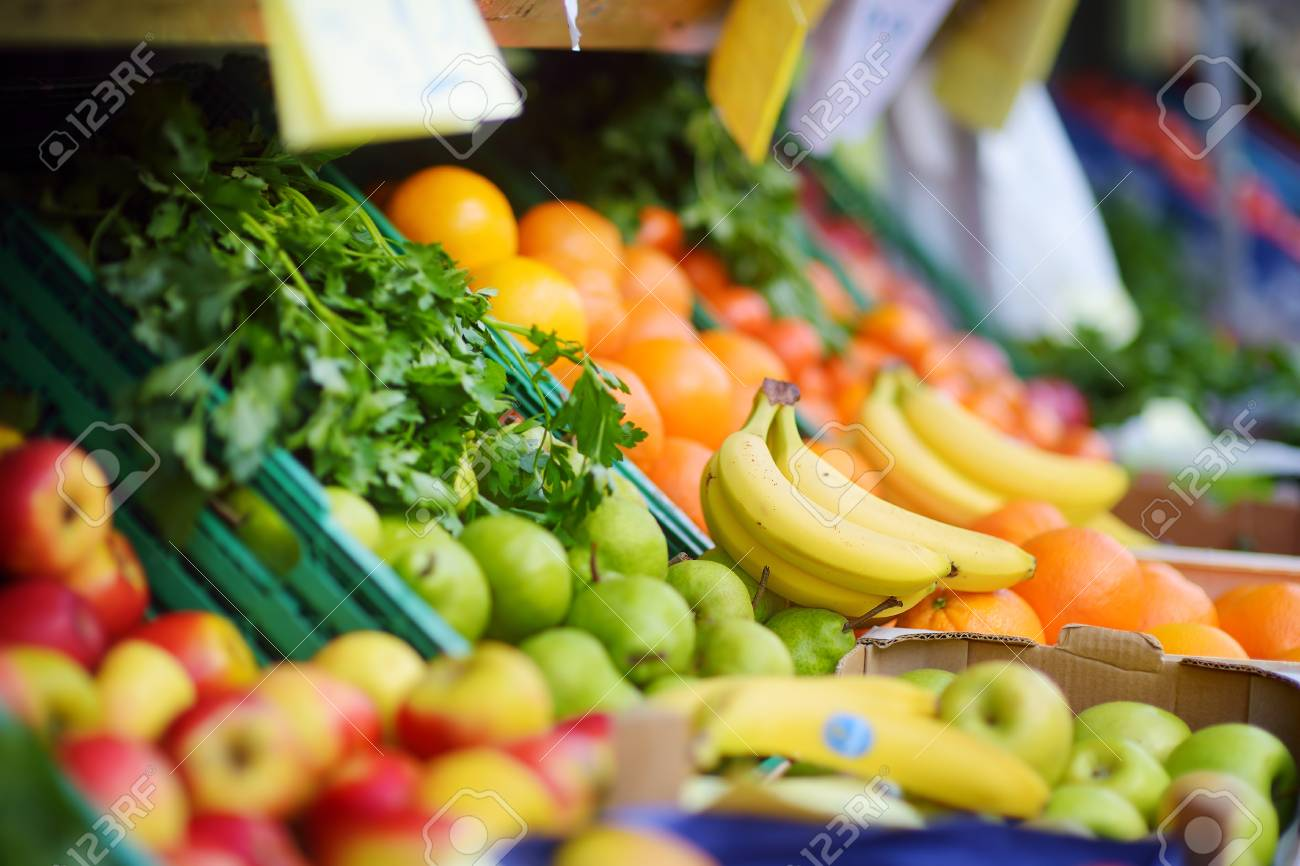 Fresh healthy bio fruits and vegetables on bremen farmer fresh healthy bio fruits and vegetables on bremen farmer agricultural market in germany stock photo publicscrutiny Image collections