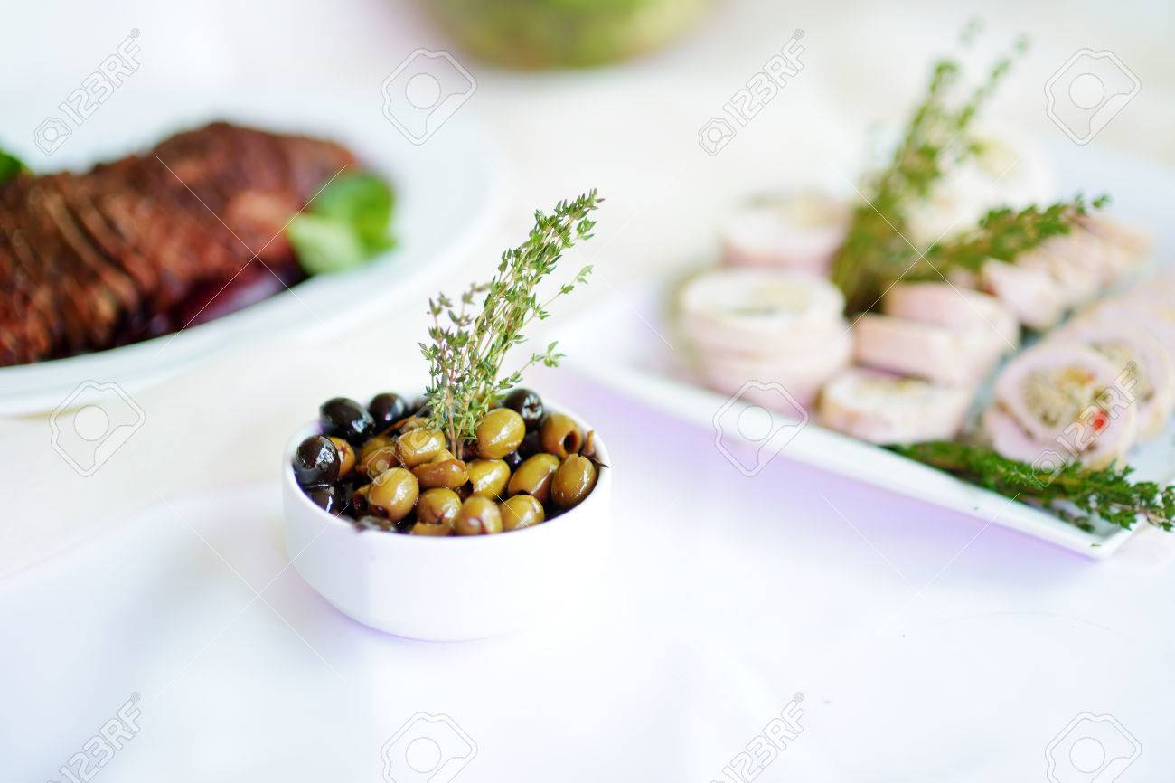 Wedding Dinner Plates | Delicious Olives Served On A Party Or Wedding Reception Plates