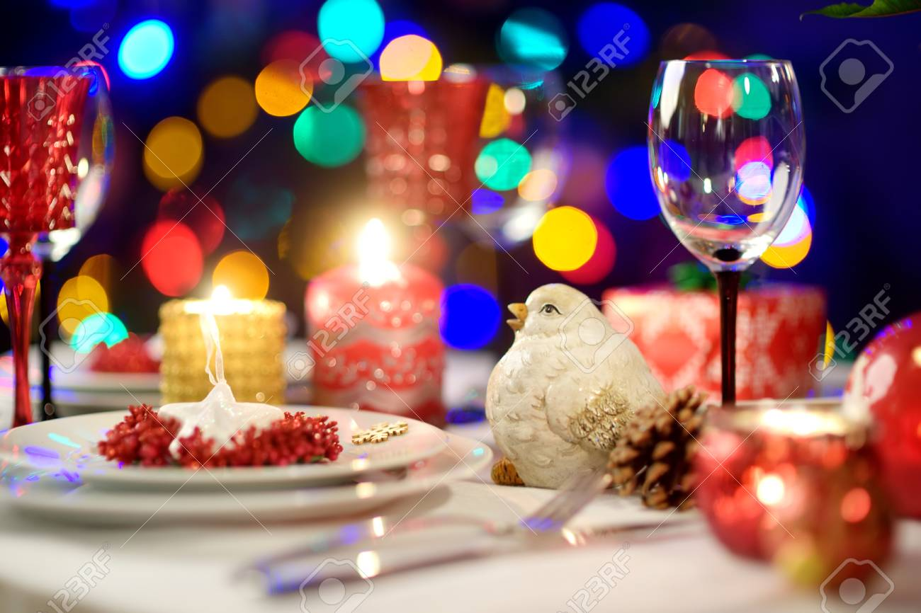 Beautiful Table Setting For Christmas Party Or New Year Celebration Stock Photo Picture And Royalty Free Image Image 107906015