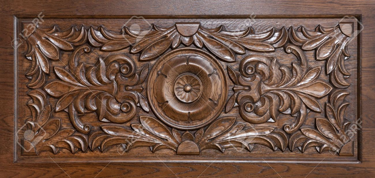Carved pattern on wood element of decor stock photo picture and