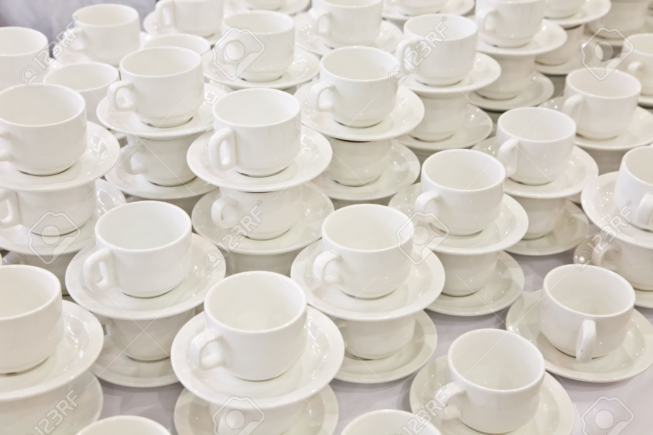 Stacks of coffee cups on saucers Stock Photo - 15258581