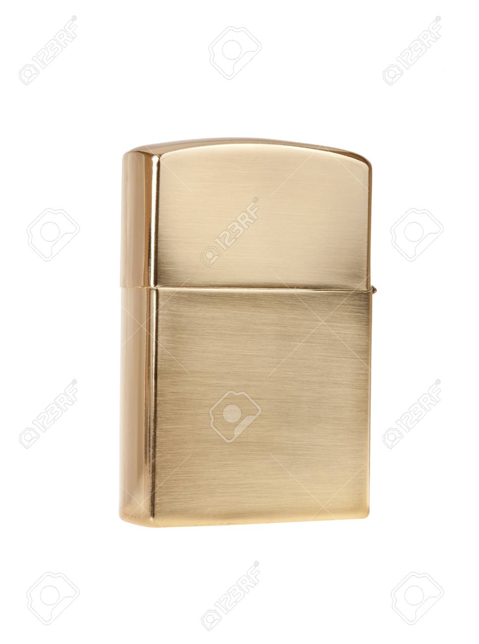 Metal lighter isolated on white background, gold color Stock Photo - 16154146