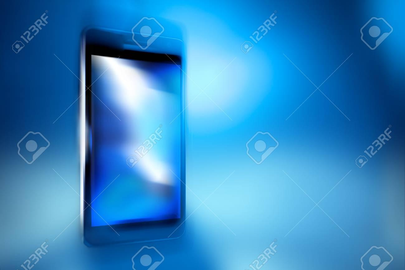 Black smart phone on blue defocus background, concept, template design Stock Photo - 19495065