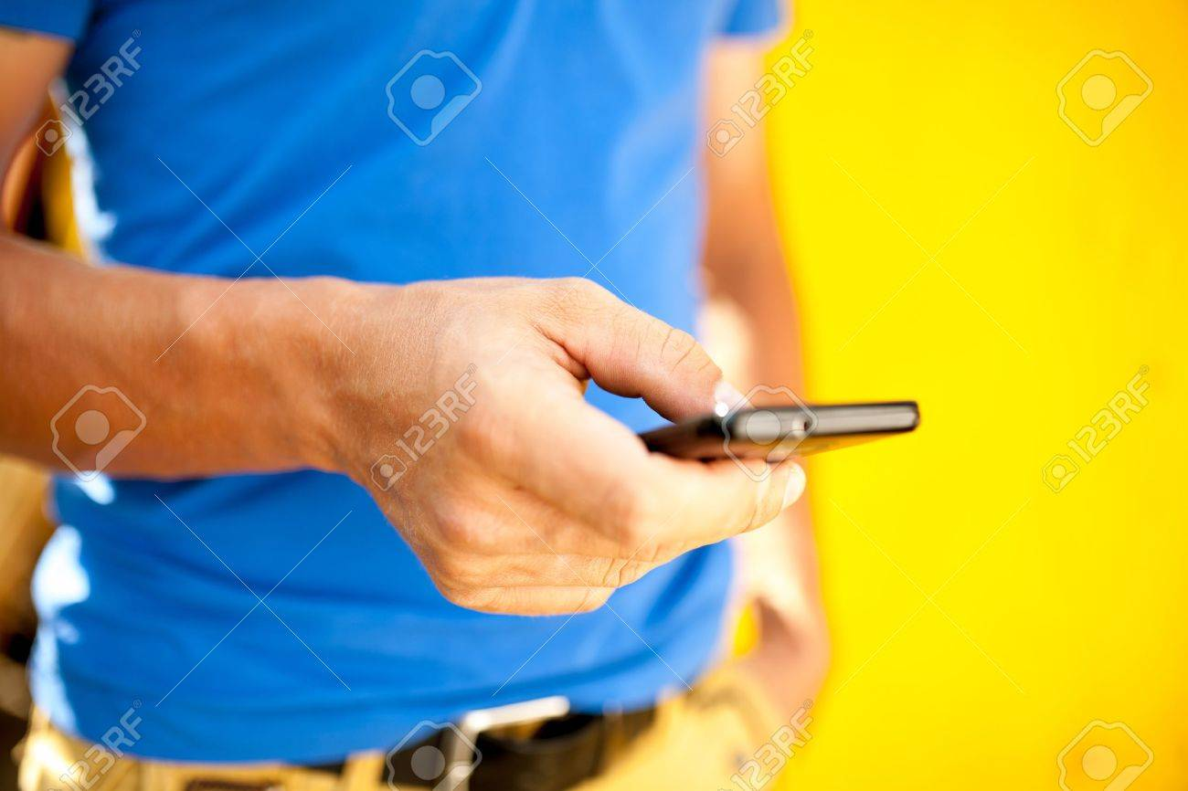 Young man using mobile smart phone, summer outdoor - 21952625