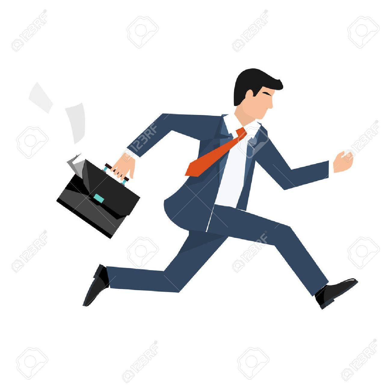 Flat style vector illustration of a businessman running, business concept - 58664559