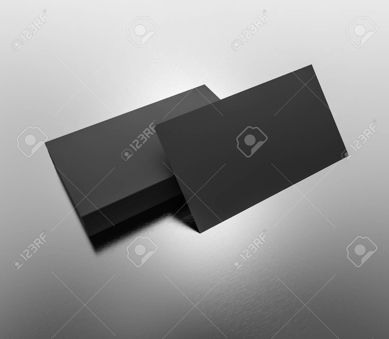 Black Business Cards Blank Mockup Template 3d Rendering