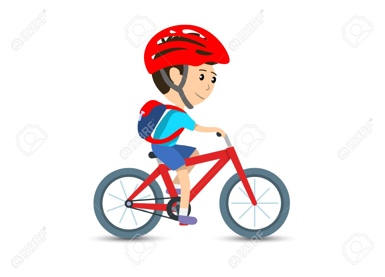 Teen Kid School Boy Cycling On Bicycle Wearing Backpack And Helmet ... 9da65c7cd