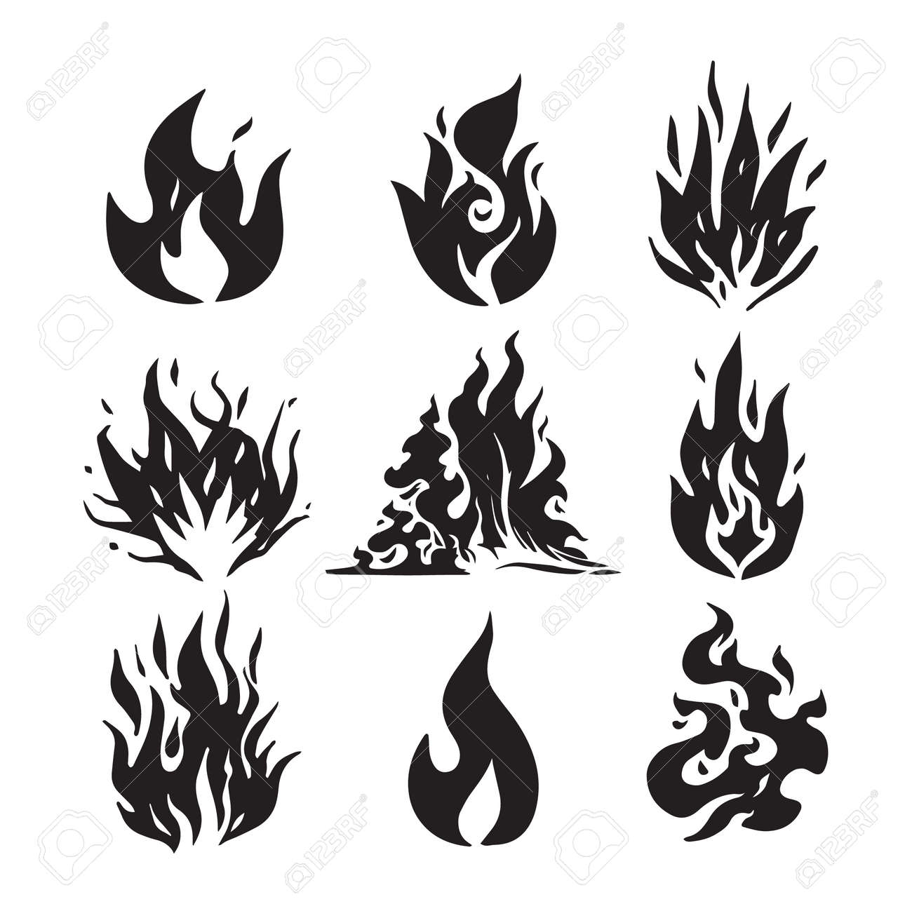 Fire flames, set icons, vector illustration. Hand drawn sketch fire flame. - 149995572
