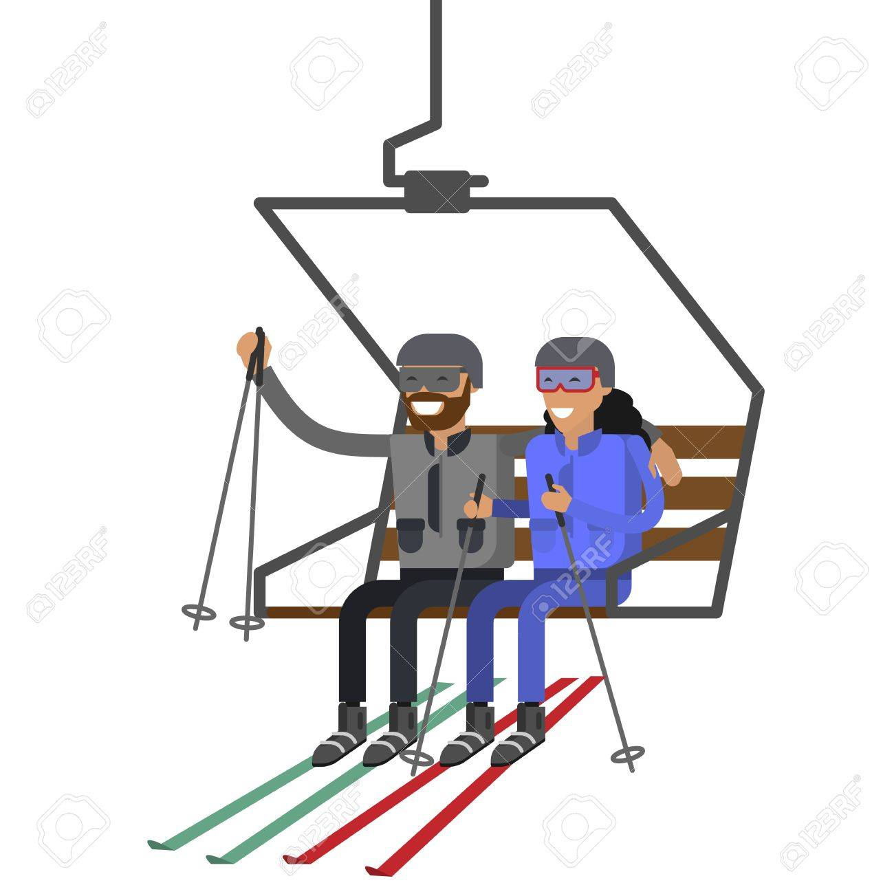 People Rise To The Ski Lift Elevator Royalty Free Cliparts Vectors And Stock Illustration Image 69152996