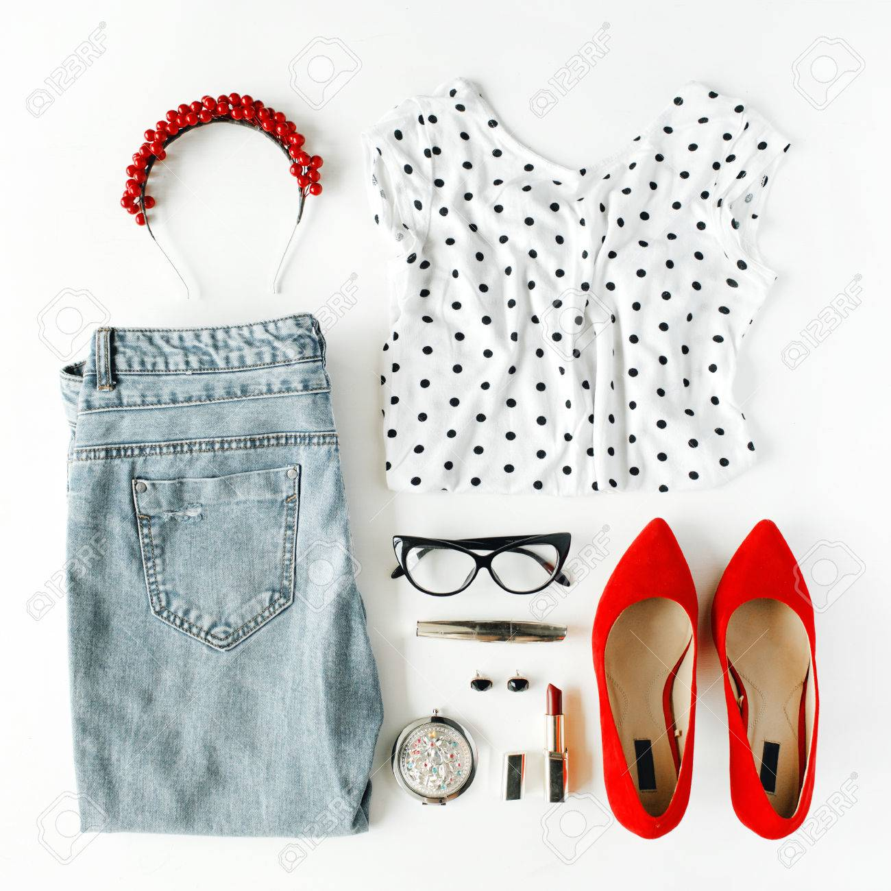 9fee11a8b974 flat lay feminine clothes and accessories collage with shirt, jeans,  glasses, mascara,