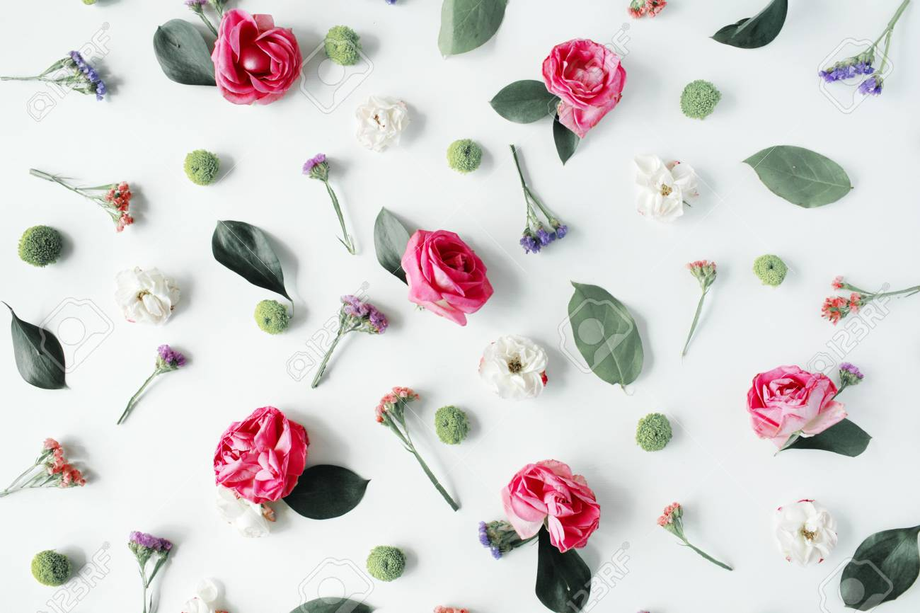 Wallpaper Texture Pink Roses And White Flowers On Background