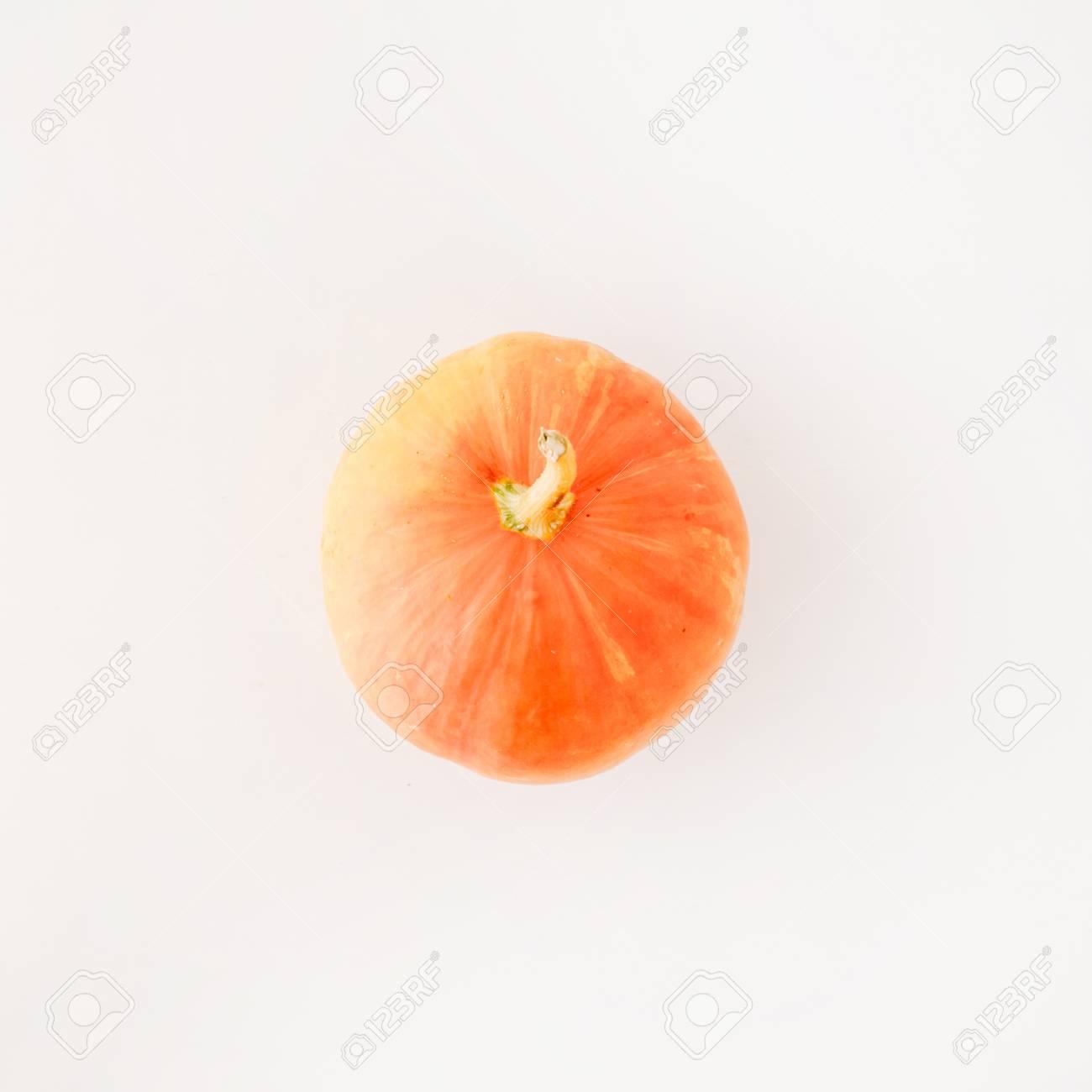 Pumpkin On White Background Flat Lay Autumn Wallpaper