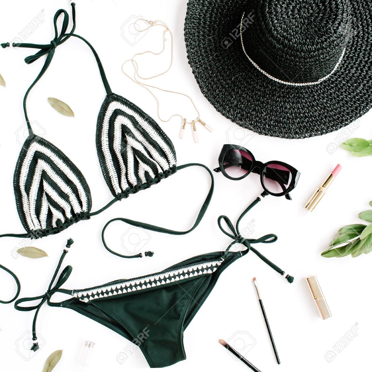 95997d3338 De Femenino Baño Verano Traje En Blanco Collage Bikini Accesorios lKc3JTF1
