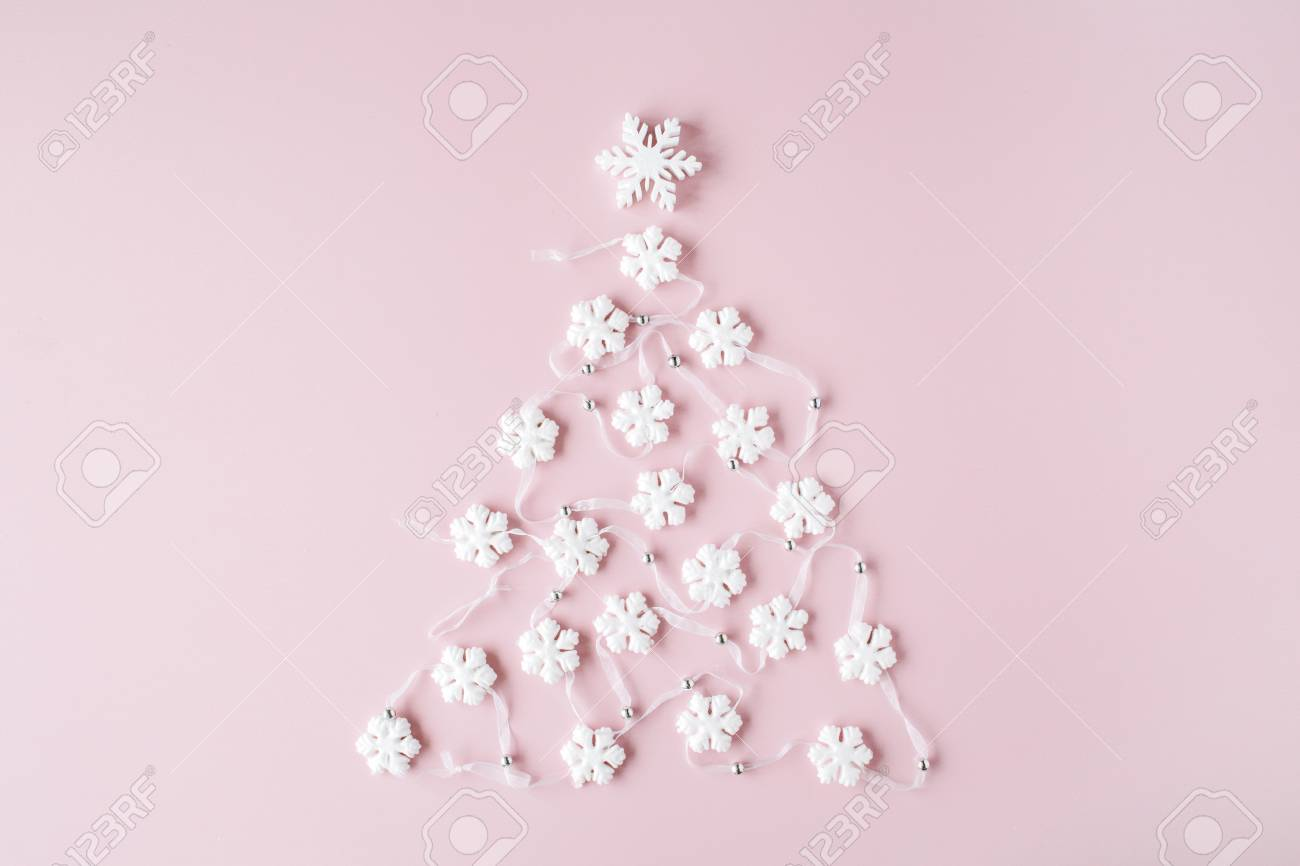 White Christmas Tree Decoration On Pink Background Christmas Stock Photo Picture And Royalty Free Image Image 67688098