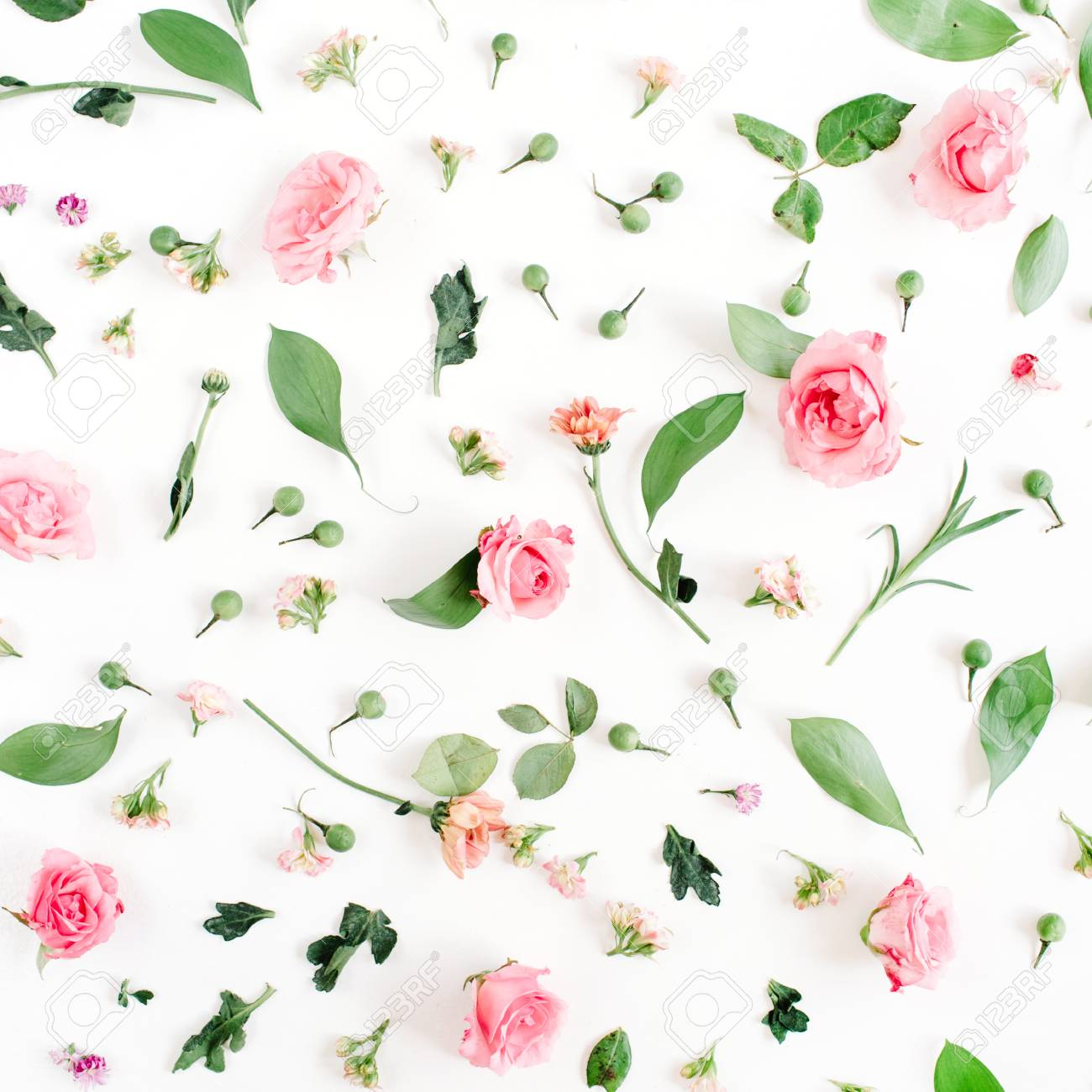 Floral Pattern Made Of Pink And Beige Roses Green Leaves