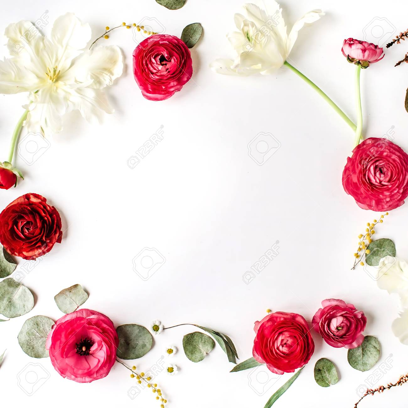 Floral frame of pink and red roses or ranunculus white tulips floral frame of pink and red roses or ranunculus white tulips and green leaves on jeuxipadfo Images