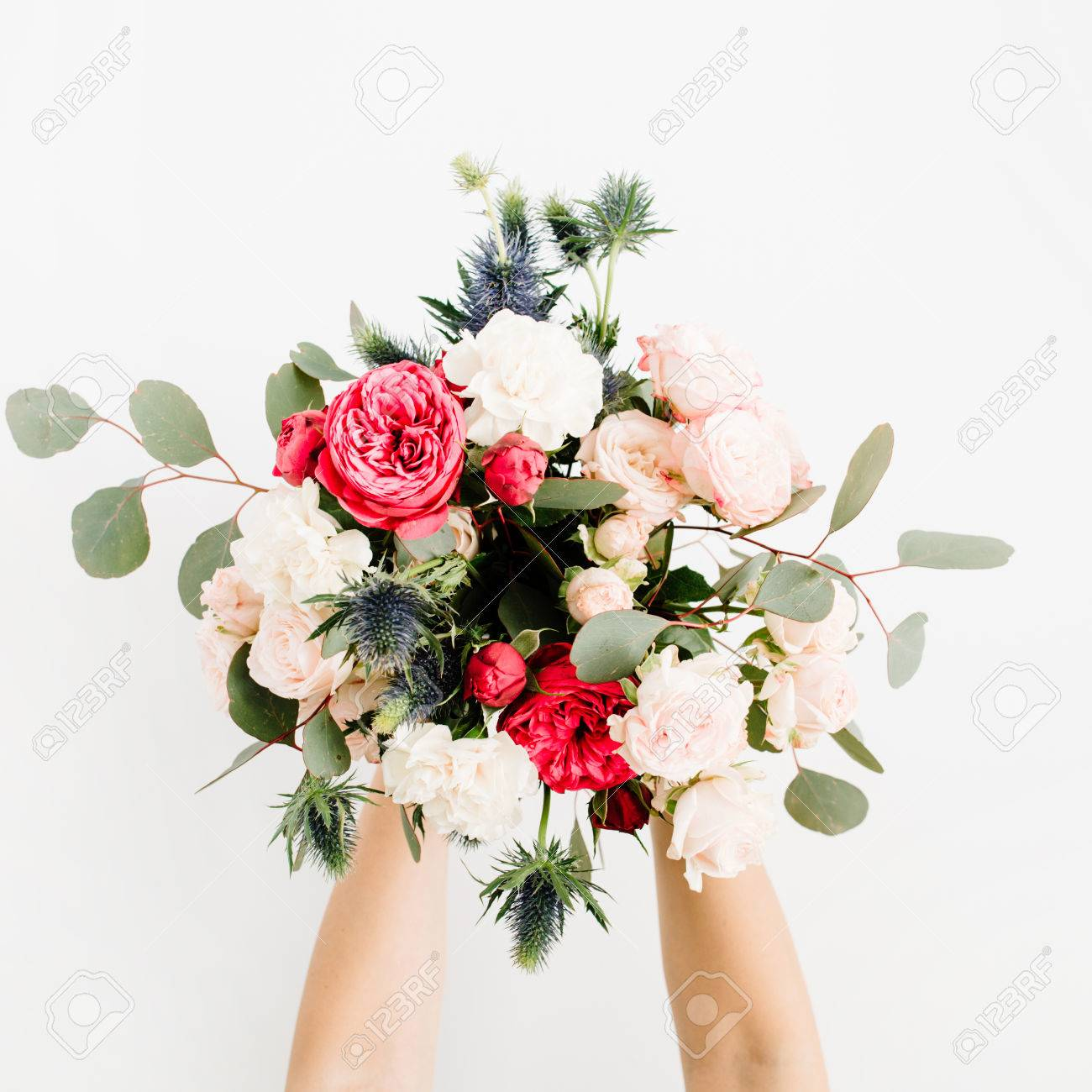 Girl\'s Hands Holding Beautiful Flowers Bouquet: Bombastic Roses ...