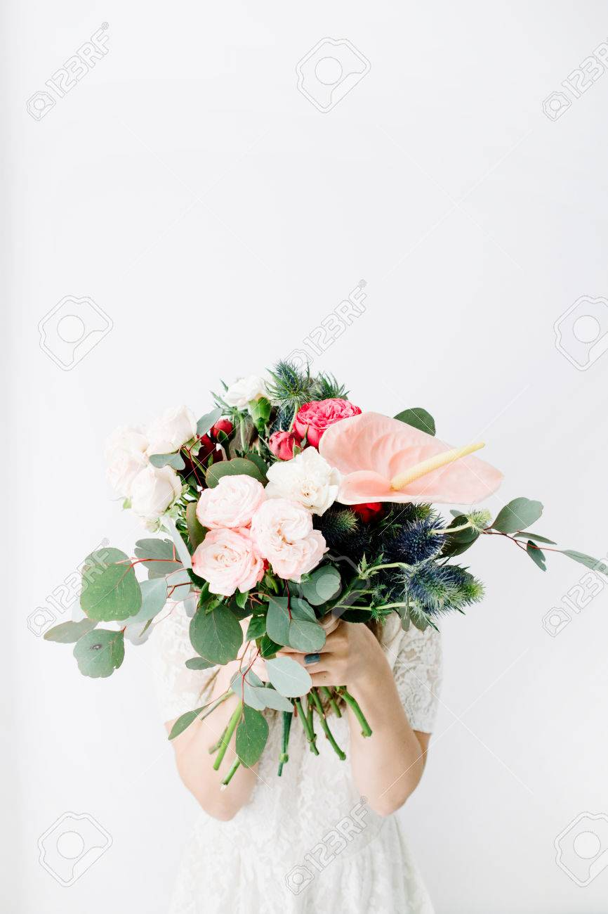Pretty Woman With Beautiful Flowers Bouquet: Bombastic Roses ...