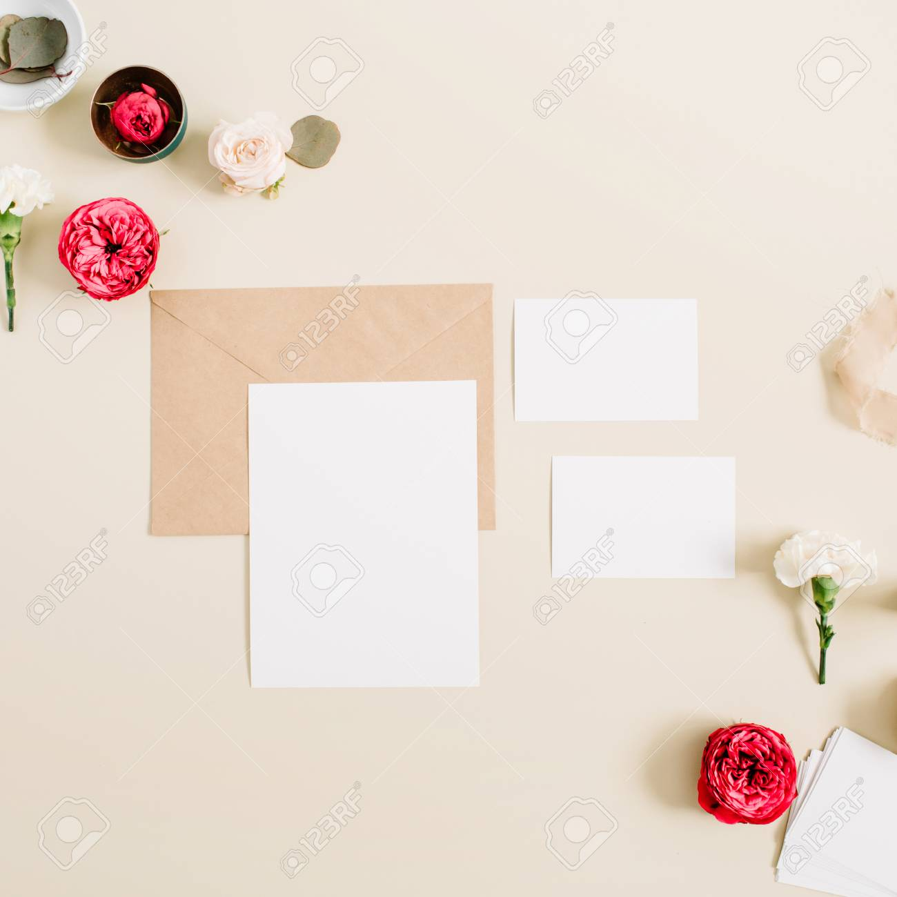 Wedding Invitation Cards, Craft Envelope, Pink And Red Rose Flower ...