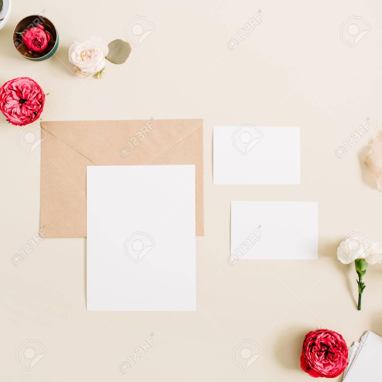Wedding Invitation Cards Craft Envelope Pink And Red Rose Flower