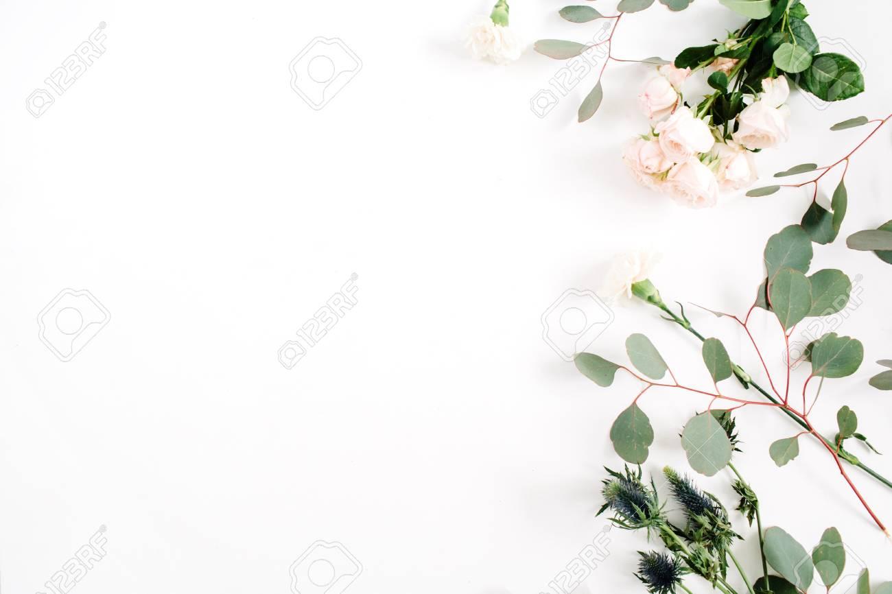 Beige Rose Flowers Eringium Flower Eucalyptus Branches On White