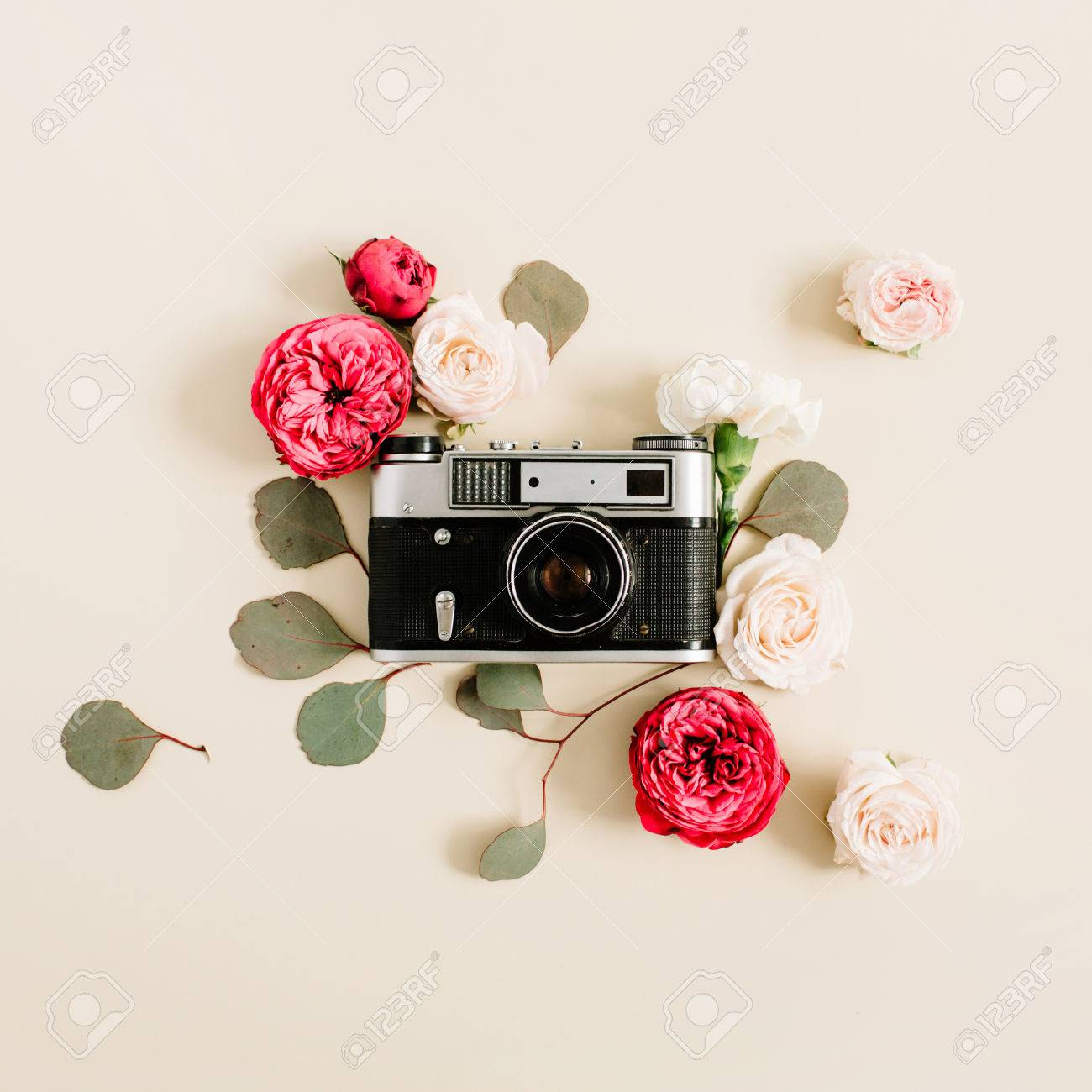 Vintage Retro Camera Red And Beige Rose Flower Buds Pattern On Pale Pastel Background