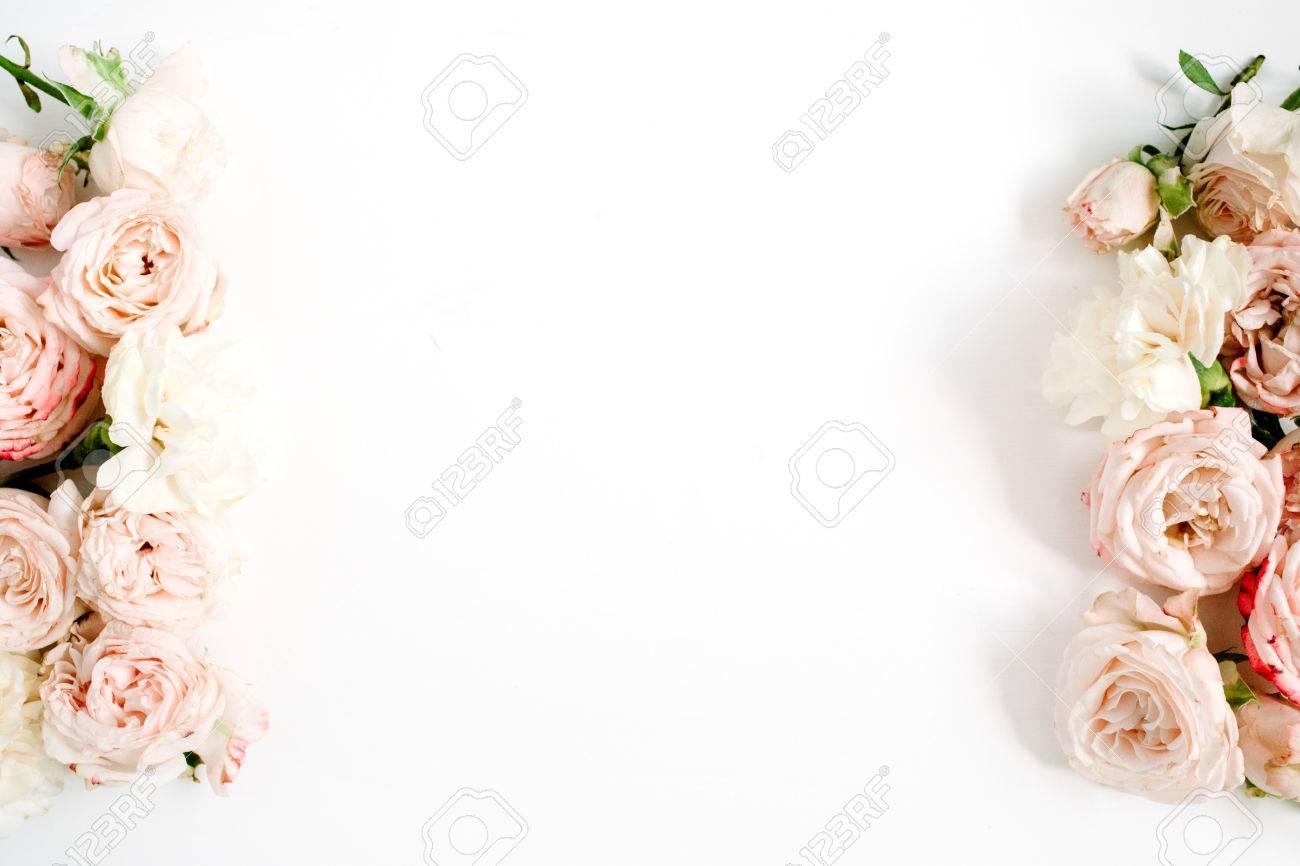Flower Border Frame Made Of Beige Roses On White Background Stock