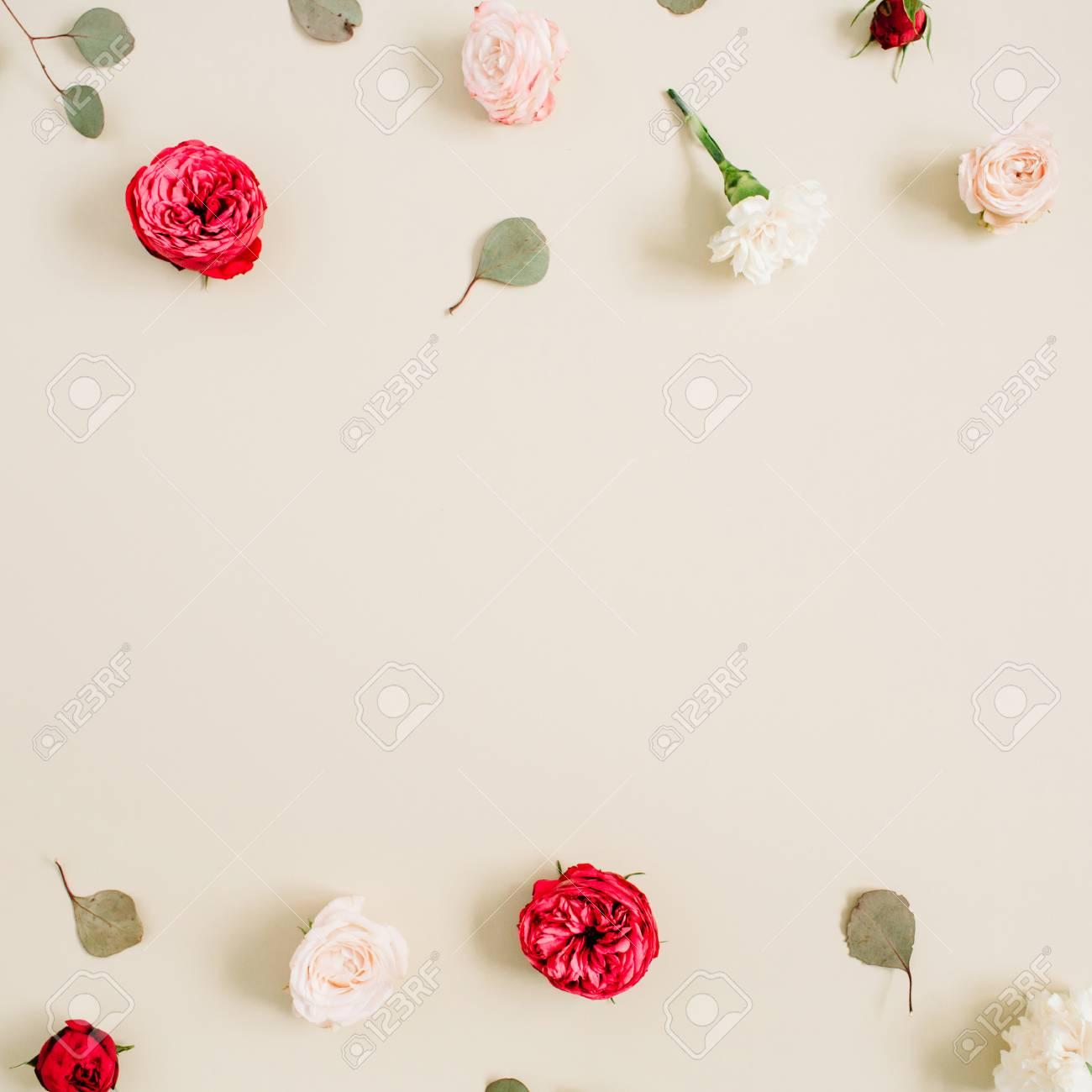 Cadre De Fleurs En Roses Beige Et Rouge Feuille D Eucalyptus Sur
