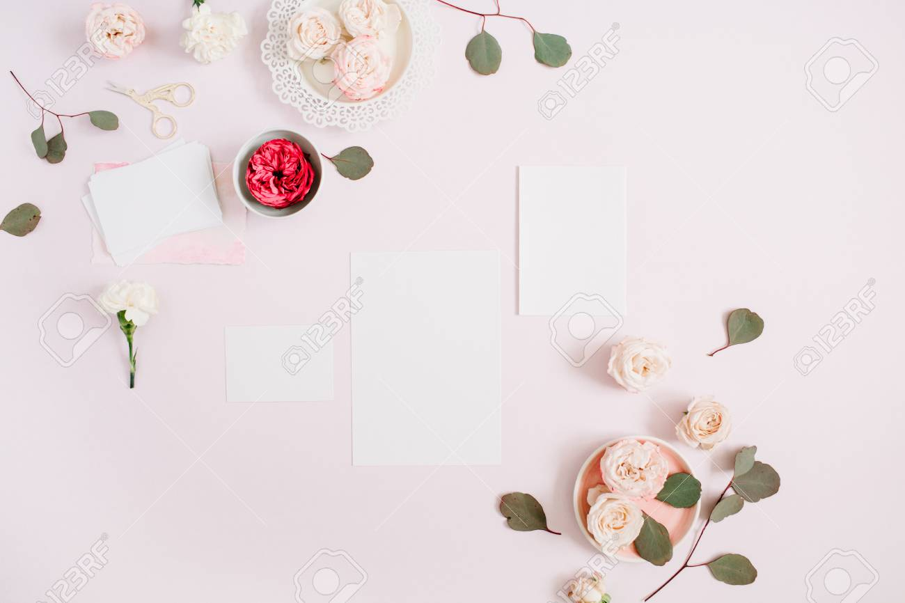 Wedding Invitation Cards Template, Pink And Red Rose Flower Buds ...
