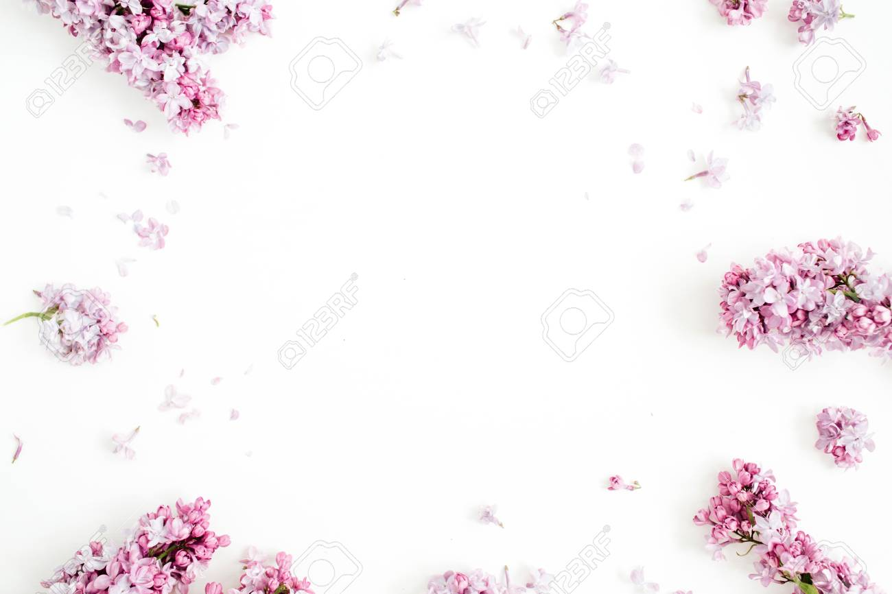 Frame of lilac flowers with space for text on white background. Flat lay, top view - 84569464