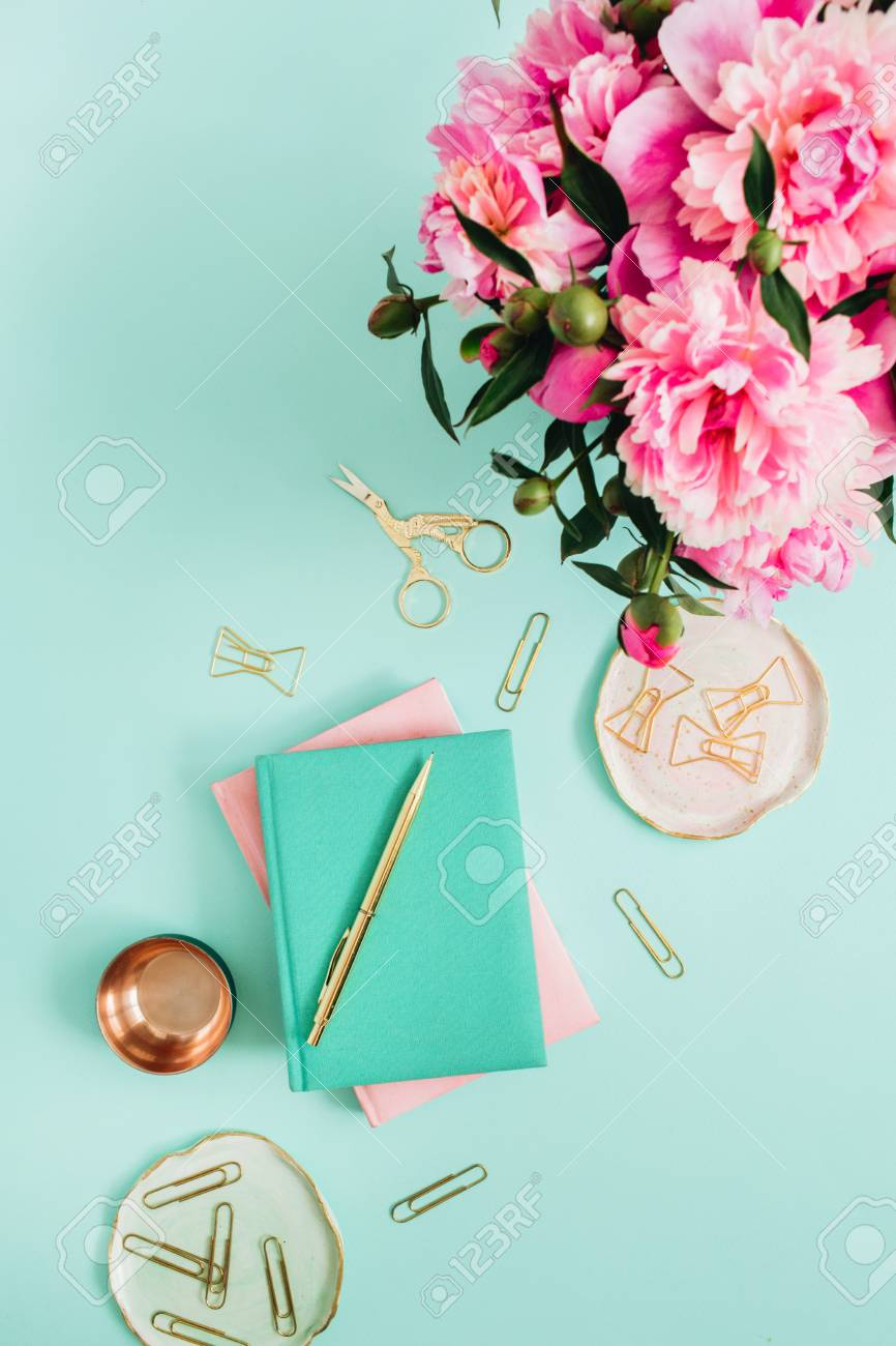 Flat Lay Home Office Desk. Female Workspace With Pink Peony Flowers ...
