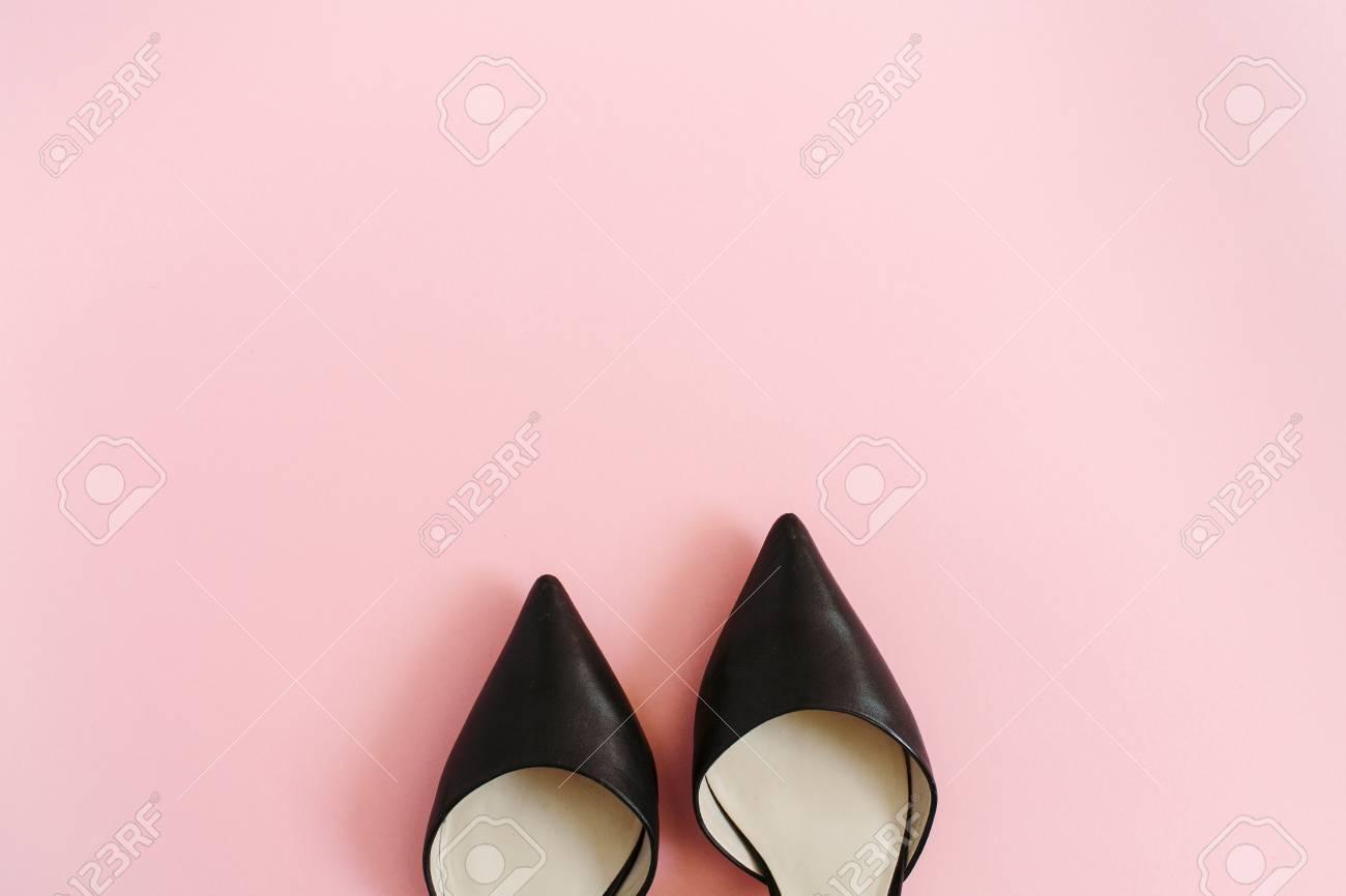 c800b2d953ff9c Fashion blog look. Black women high heel shoes on pink background. Flat lay