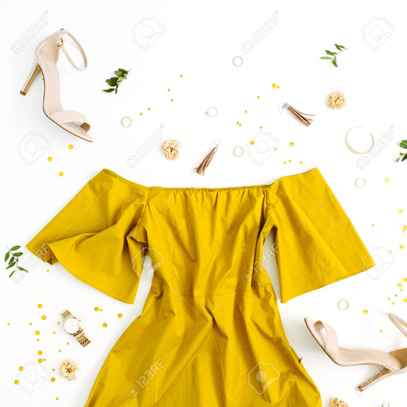 Women's fashion clothes and accessories on white background